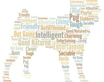 Pug - Personalised dog word art.