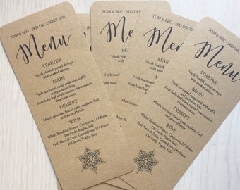 Wedding menu cards - rustic winter wedding menu cards - kraft wedding menu cards