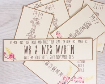 Wedding table plan cards