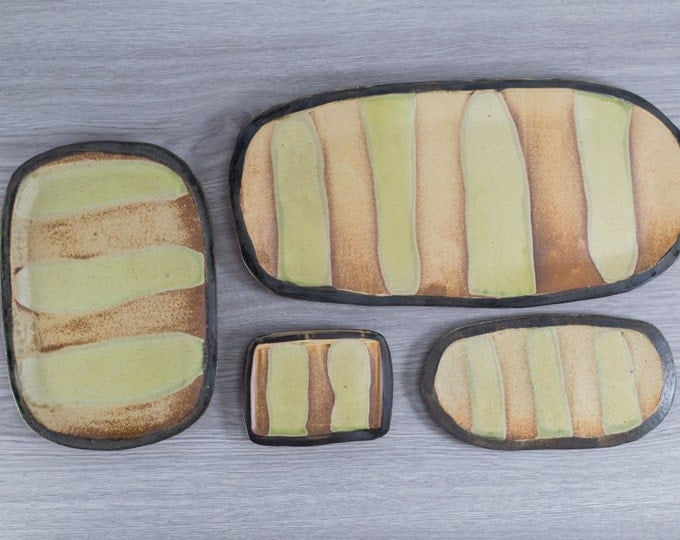 Ceramic Serving Trays for Cheese, Desserts or Appetizers / Handmade Flintstone Stripe Primitive Design with Brown and Green Earthy Tones