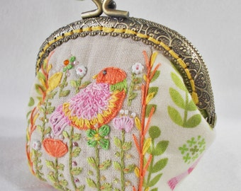 Little Millie hand embroidered coin purse - pink, yellow and orange