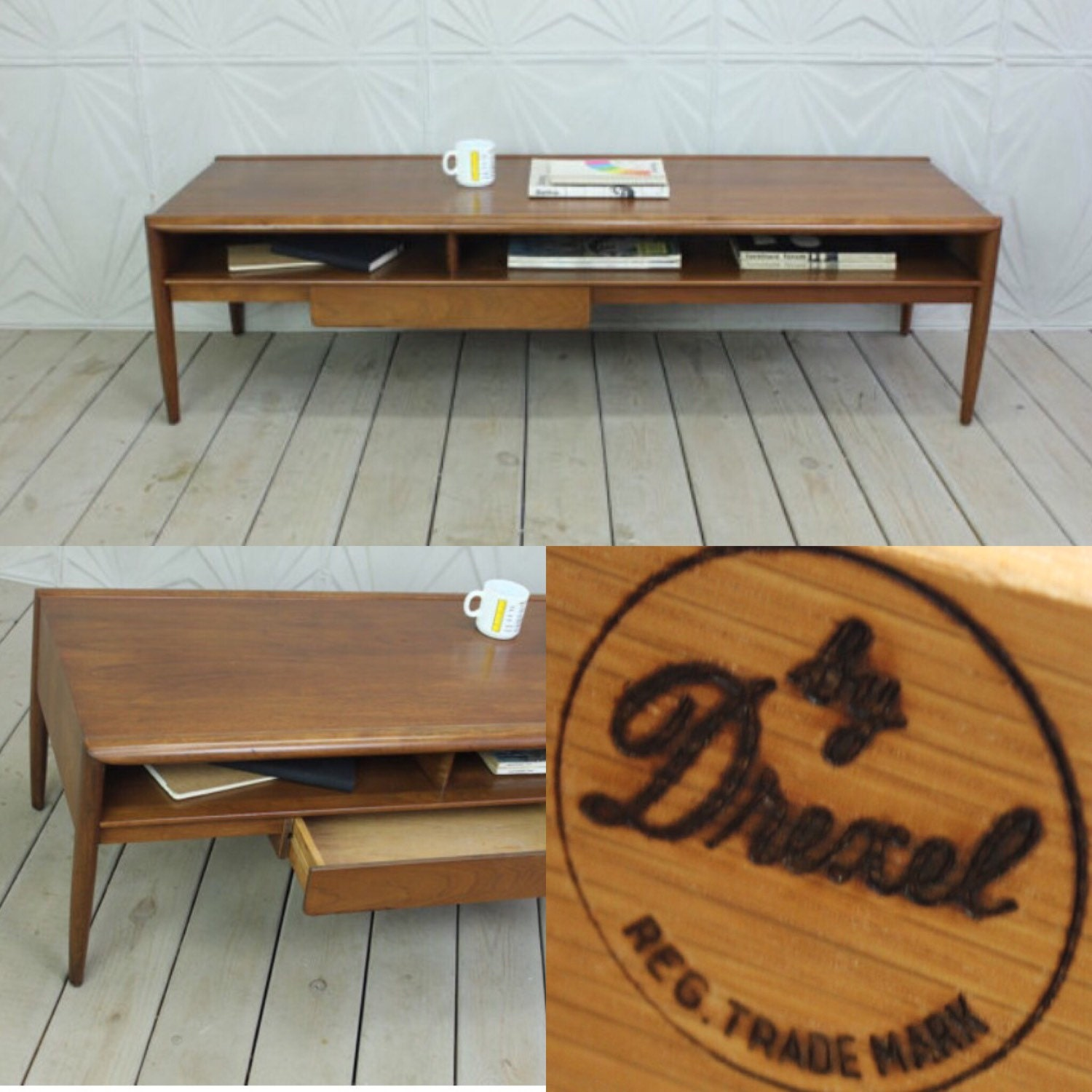 Drexel parallel 60 long coffee table with drawer by description very cool long coffee table geotapseo Image collections