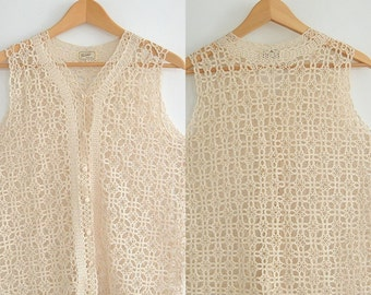 Tramo Switzerland Pure Silk Crochet Vest Vintage 1960's  Crochet Sweater Vest Size Medium Elegant Beautiful Piece of wearable Art
