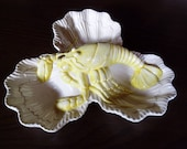 French lobster plate Vintage French 3 section serving dish White with yellow lobster