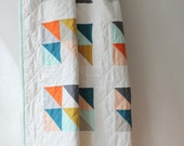 Custom modern baby quilt--bright geometric design