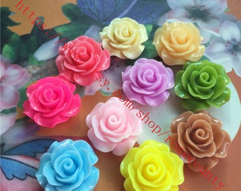Wholesale 100pcs 20mm assorted(10 colors) resin rose flower Cabochons/cameos