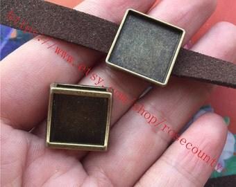 wholesale 50pcs Antiqued bronze 15x15mm (cabochon size) sqaure bezel trays connetors charms findings--slider style
