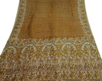 Vintage Pure Silk Fabric Brown Sari Sarong Drape Human Printed Fabric Dress Recycled Sari Women Wrap Indian Sari 5Yard PS39832