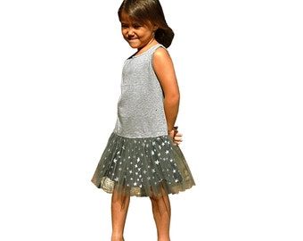 Summer girl's dress, bi fabric, jersey top and bottom tulle, and stars