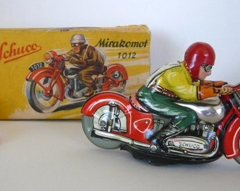 Vintage Schuco Mirakomot 1012 Tin Wind Up Motorcycle Toy with Key and Box