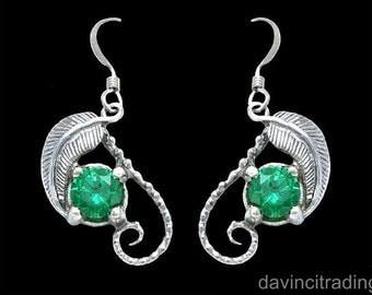 Lord of the Rings Mirkwood Emeralds of Girion Elven Earrings Sterling Silver