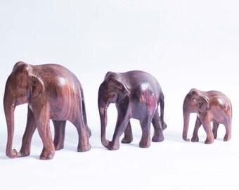 3 Elephants Wood Carvings. 70's.
