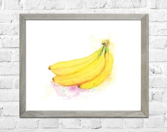 Bananas Watercolor Print, Watercolor Fruit Wall Art Print, Kitchen Wall Decor, Fruit Watercolor Painting, Bananas Decor