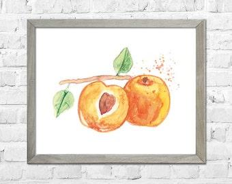 Watercolor Peach Painting, Home Decor, Botanical Watercolor, Kitchen Wall Art, Fruit Art Print, Kitchen Wall Decor