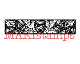Rubber stamp border / thistle border stamp / rubber only or cling stamp option (160301)