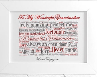 Personalised Grandmother Framed Word Art - My Inspiration