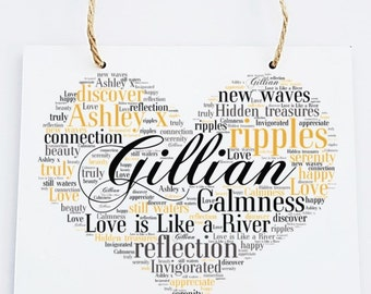 Personalised Love Word Art Wooden Hanging Plaque - Love is Like a River