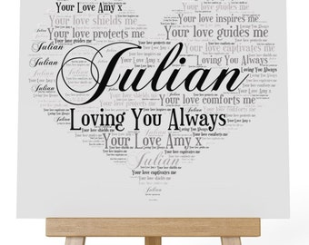 Personalised Love Word Art Wooden Plaque & Wooden Easel Stand - Loving You Always