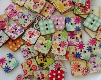 50 Wooden buttons square Fantasy Mixed 15mm