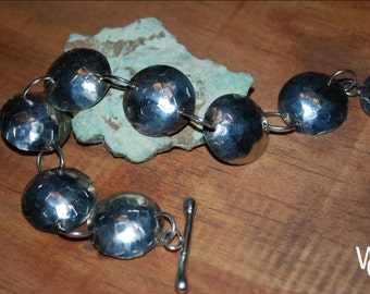 Sterling Textured Dome Bracelet with Toggle Clasp