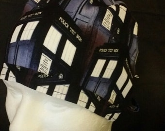 Dr. Who BBC Time Travel Tardis Tie Back Surgical Scrub Hat