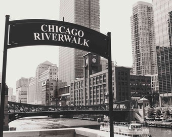 Downtown Chicago Illinois, Chicago Riverwalk, Architecture, Black and White Photography Fine Art Print