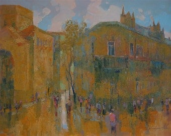 Yerevan City, Armenia, Original oil Painting, Cityscape,  One of a Kind, Impressionism Signed with Certificate of Authenticity