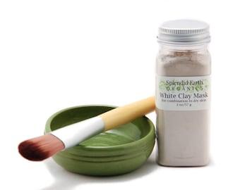 White Mask Gft Set - White Clay Mask, Facial Brush, Blending Bowl, Sensitive Skin, Dry Skin, Combination  Skin