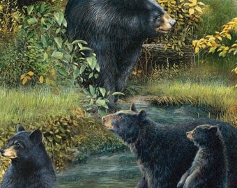 Per Yard, Wild Wings Black Bear Scenic Fabric From Springs Creative