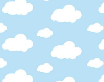 Per Yard, FLANNEL Dreamy Clouds Blue Fabric From David Textiles