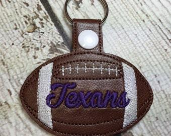 Texans Football - In The Hoop - Snap/Rivet Key Fob - DIGITAL Embroidery Design