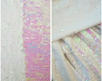 1 yard reversible Sequin on Spandex Knit Fabric,Iridescent Mermaid Pearl Sequin Fabric,Dress and Costumes Sequin Fabric,