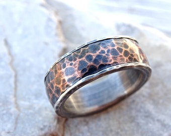 forged silver copper ring, mens wedding band, hammered copper ring silver, copper wedding ring, rustic wedding ring personalized mens ring