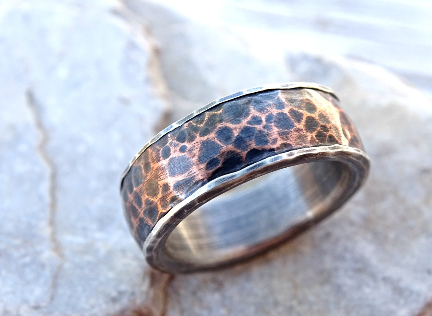 copper wedding ring forged silver copper ring mens wedding band hammered 3052
