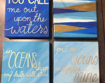 Oceans Stretched Canvas Painting- Set of 4