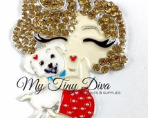45mm Puppy Love pendant  for chunky bubblegum bead necklaces Marilyn Monroe inspired
