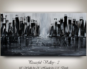 Original Acrylic Cityscape Large Painting Abstract Paintings Modern Cityscape Contemporary Art Large modern art 24x48 abstract fine art