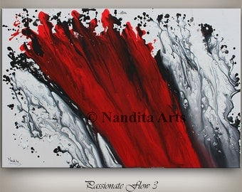 Large Original Red Painting, Acrylic Abstract painting, WALL ART PAINTING Abstract Artwork modern Art Decor Fine Art by Nandita Albright