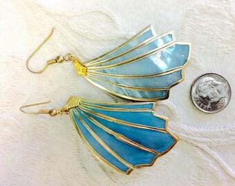 Shiny blue shell earrings