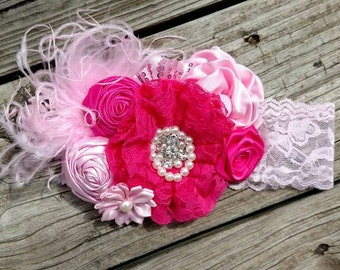 Lace Dark/HOT Pink & light pink Over the top headband First Birthday* Pink headband Lace headband Hot pink lace headband Over the top