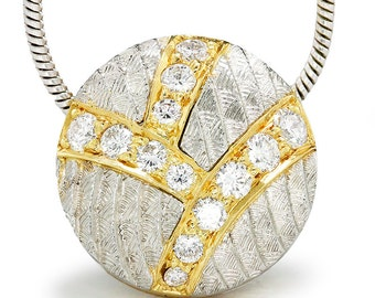 """0.25ctw Diamond Cluster Drop Two Tone Platinum Pendant Necklace 18"""""""