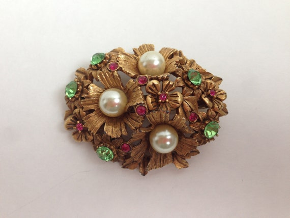 SALE! Large Florenza Brooch,  Gold-Plated, Large Pearls, Glass Peridot, Ruby, Rhinestones