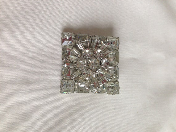 Juliana Clear Crystal Square Round and Baguette Rhinestones Square  Brooch Bridal