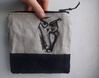 Owl Linen Pouch With Waxed Canvas Bottom