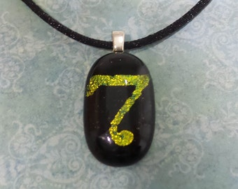 Black and Gold Pendant, Sqwiggly 7, Fused Glass Necklace - Fancy 7 - 4273 -5