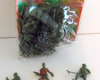Set of vintage, plastic, mini WWII style Soldiers.