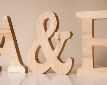 Large Wooden Letters - Personalised Word Letter Name Wedding Sign Mr & Mrs - Oak Wood - Anniversary, Valentine's, Wedding gift