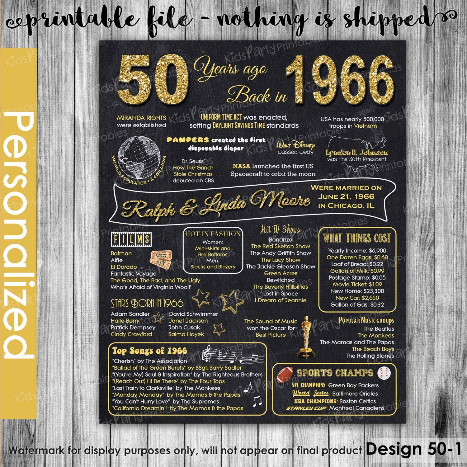 List Of 50th Wedding Anniversary Gifts : 50th Anniversary Gifts for Parents 50th by KidsPartyPrintables