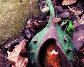 Felted elf with house , fairy house, waldorf fairy elf