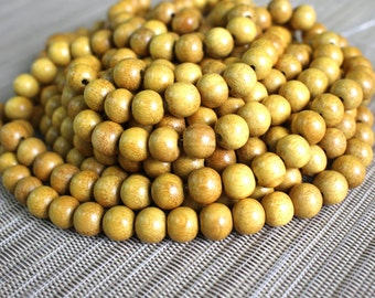 10mm Natural Nangka Jackfruit - Round Premium Wood Beads - 15 inch strand - 4BR10-4